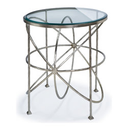 Kathy Kuo Home - Bialik Modern Hollywood Regency Glass Orbit Round Side Table - Make a big bang with this eclectic silver side table. Intriguing, orbital shapes form the base of the table, supporting the round, clear glass top. Antique, brushed silver adds a soft finish to this Industrial Loft accent.