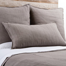 "Pom Pom at Home - Pom Pom at Home Montauk Grey Stone Duvet Cover - Pom Pom at Home's bedding and accessories lend lived-in elegance to everyday experiences.�� A simple design, the Montauk duvet cover delivers luxurious comfort with a heavy weight linen construction. This soft bedding's stone gray fabric offers a beautiful accent to a transitional bedroom. Made from 100% linen. Machine washable. Insert not included. Queen: 88""W x 88""H. King: 90""W x 104""H. 0.5"" flange."