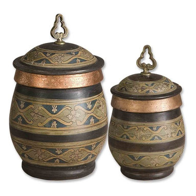 Uttermost - Cena Terracotta Canisters, Set of 2 - Add these stunning canisters to your sideboard and get ready for compliments. The hand-painted terra cotta bodies are so beautifully detailed they could have come directly from Thailand.