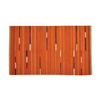 Orange 100% Wool Reversible Durie Kilim Oriental Rug 5' x 8' Hand Woven SH15715 - Soumaks & Kilims are prominent Flat Woven Rugs.  Flat Woven Rugs are made by weaving wool onto a foundation of cotton warps on the loom.  The unique trait about these thin rugs is that they're reversible.  Pillows and Blankets can be made from Soumas & Kilims.