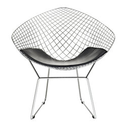 CAD Lounge Chair - A modern club chair broken down to the most basic of its elements, suitable for home or office, this contemporary accent chair is a remarkable piece. The continuous wire-like seat is visually stimulating, and a black leather-matched vinyl seat pad is included for comfort. A simple yet stylish design in a geometric shape.
