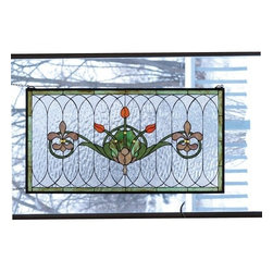 """Meyda Tiffany - Meyda Tiffany 68018 Stained Glass Tiffany Window Arts & Crafts Collecti - 36"""" W X 19"""" H Tulip & Fleurs WindowSpring Green Leaves And Borders, Lively Coral Tulips And Plum Beige Fleur-De-Lis, Accent The Rippling Textured Clear GlassIncludes Mounting Brackets and Chains"""