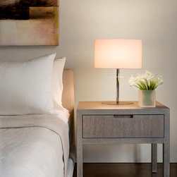 Ceruse Gray Nightstand - Ceruse gray nightstand in brushed rift oak with customized carved handle.