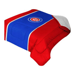 """Zappysales - Chicago Cubs Sidelines Comforter Queen - Comforter Full/Queen 86"""" x 86"""". Covers are 100% Polyester Jersey top and bottom side, filled with 100% Polyester Batting. Logos are screenprinted. Machine washable in warm water, and tumble dry on low heat."""