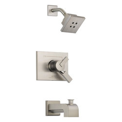 Delta - Delta T17453-SSH2O Vero Monitor 17 Series Tub and Shower Trim with H2Okinetic Te - Delta T17453-SSH2O Vero Monitor® 17 Series Tub and Shower Trim with H2Okinetic Technology®, Volume Control, Tub Spout and Single Function Showerhead in StainlessIts sleek vessel lavatory and minimalist showerhead are just two reasons the ribbon-inspired Vero Collection is the perfect urban oasis.  Let the shower become your private sanctuary where body sprays and showerheads work in perfect harmony.  These faucets feature Delta's proprietary H2Okinetic Technology® which creates a warmer, more luxurious shower experience that blankets the body while using less water.  In addition, Delta Monitor® faucets help keep the water a constant temperature to ensure you and your family have a safe and comfortable shower experience day after day.  You emerge every day refreshed.  Offered in chrome and stainless, the Vero Bath Collection comes with a full suite of coordinating accessories, providing a decorative look throughout the bath.Delta T17453-SSH2O Vero Monitor® 17 Series Tub and Shower Trim with H2Okinetic Technology®, Volume Control, Tub Spout and Single Function Showerhead in Stainless, Features:• Delta's proprietary H2Okinetic Technology® creates a warmer, more luxurious shower experience that blankets the body while using less water.