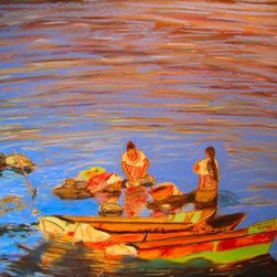 """""""Washing Day"""" (Original) By Cindy Morawski - Washing Day Is Set In Guatemala.  This Painting Is A Tribute To The Colorful Beauty Of A Simple And Everyday Task.  Many Women Around The World Wash Their Clothing Outdoors Using A Local Water Source.  In This Case, It'S The Local Lake."""