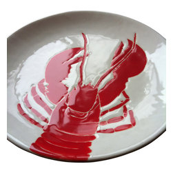 "Jessica Howard Ceramics - Round Platter 11.5"", Red Lobster - Serve up some coastal style with this hand-painted platter. The simple color scheme and hand-drawn, nature-inspired design make it perfect for a rustic beach cottage look. Glazed and kiln-fired for lasting color, this memorable piece may become a coveted heirloom."