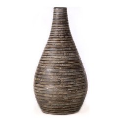 Brown Coil Vase, Large - Handcrafted clay pottery