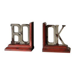 "Uttermost - Book Distressed Bookends, Set of 2 - One for the books! This cleverly crafted set of bookends spells out the word, ""book."" Use the pair to hold a stack of your favorite reads upright."