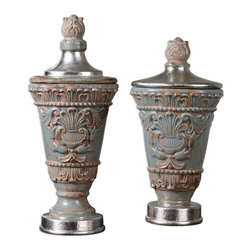 "Uttermost - Uttermost Deniz Urns Set of 2 19775 - Distressed, crackled sea foam green ceramic with a light glaze and metallic silver accents. Removable lids. Small size: 9""W x 15""H x 7""D, Large size: 9""W x 20""H x 7""D."