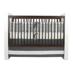 Oilo - Sticks Bumper, Pewter - This playful and modern bumper design is the perfect complement to a classic white crib sheet. The look is clean and graphic and great for parents with a contemporary design sense. There's no rule that says a nursery has to be filled with pink or blue!