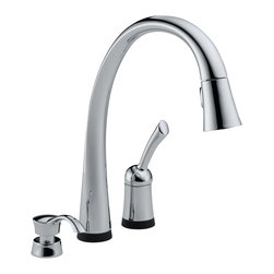 Delta Single Handle Pull-Down Kitchen Faucet with Touch2O(R) Technology and Soap - Pilar(R) with Touch2O(R) Technology is a distinctive kitchen faucet that coordinates with any decor and provides all the convenient functionality Touch2O(R) Technology has to offer.