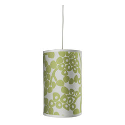 Oilo - Modern Berries Cylinder, Spring Green - The modern berries on this drum shade make a great statement in any room. The simple white cord can be adjusted to hang the light from any length up to 55 inches. It would look great accenting a corner or hanging in the center of a small room.
