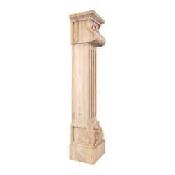 Hardware Resources - Alder Fireplace Mantels Acanthus Corbels - Acanthus Fluted Wood Fireplace / Mantel Corbel with Shell Detail. 8In. x 7In. x 36In. Species: Alder
