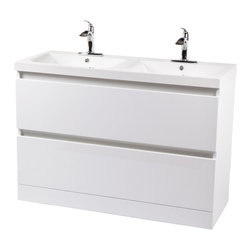 Control Brand - The Peille Sink Cabinet with two drawers - Crafted from high quality artificial stone, the Peille Sink Cabinet with two drawers will be a stylish addition to your bathroom. The double sinks bring reliable performance and years of beauty. The cabinets are made from MDF with a white finish, along with soft closing slide drawers. Faucets are not included.
