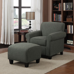 PORTFOLIO - Portfolio Mira Charcoal Gray Linen Arm Chair and Ottoman - The Portfolio Mira arm chair and ottoman features a transitional design with rounded arms. The Mira chair and ottoman are covered in a charcoal gray linen fabric.