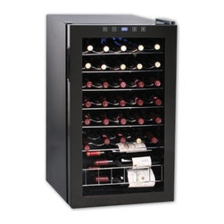 Vinotemp - 34-Bottle Touch Screen Wine Cooler - Maintain optimum temperature for your wine collection with the VT-34 TS wine cooler. This attractive 34-Bottle wine cooler has a black body and door, plus special features like a touchscreen control panel. In addition to an internal light and the ability to toggle between a Celsius and Fahrenheit display, this cooler includes a control panel lock. Wine cooler has sturdy wire shelf racking and a small bulk storage section at the bottom. This unit is meant for freestanding use only.