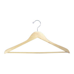 Proman - Genesis Flat Suit Hanger with Wooden Bar, Natural - Genesis flat suit hanger with wooden bar, natural, chrome hw,50 pcs/case. Flat suit hanger. W / wooden bar.