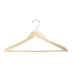 Proman - Genesis Flat Suit Hanger with Wooden Bar, Natural - Genesis flat suit hanger with wooden bar, natural, chrome hw,50 pcs/case. Flat suit hanger. W / wooden bar.