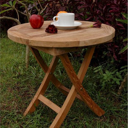 "Anderson Teak - Bahama 20 inch Mini Side Folding Teak Table (TBF-020R) - This beautiful solid teak ""Bahama Mini Side Folding Teak Table"" is a great addition to your outdoor patio, garden or pool area.It will be useful��inside your home as a side table in the kitchen or living room or outdoors on your patio or at the pool side.It can be used as a side table for any possible occasion and when not used it folds and stores away in seconds.��"