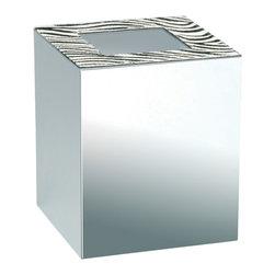 Windisch - Square Chrome Bathroom Waste Bin with Zebra Design - Decorative, contemporary style square waste bin with zebra design on top.