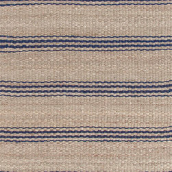 Area Rugs - Natural jute area rugs with indigo blue stripes at J Brulee Home.  www.jbrulee.com