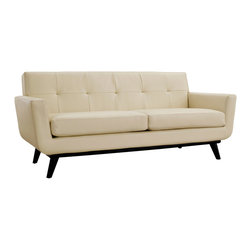 Spiers Loveseat in Cream Leather - Two of the best things about summer are tasty, frozen desserts and long naps on comfy couches. Grab a creamsicle, then take a doze on this soothing sofa.