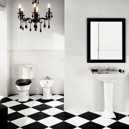 "BiancoNero Black and White Floor Tile and Deco Classico Quilted Wall Tile - Black and white floor tile. Unique large format white wall tile ""quilted"" look."