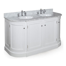 Kitchen Bath Collection - Montage 60-in Double Sink Bath Vanity (Carrara/White) - This bathroom vanity set by Kitchen Bath Collection includes a white cabinet with Italian Carrara marble, double undermount ceramic sinks, pop-up drains, and P-traps. Order now and we will include the pictured three-hole faucets and a matching backsplash as a free gift! All vanities come fully assembled by the manufacturer, with countertop & sink pre-installed.