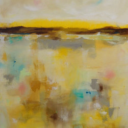 """Linda Donohue - Yellow Abstract Landscape Original Acrylic Painting -Summer Yellows 22 x 28 - This is an original acrylic painting on gallery wrapped canvas. The sides are painted a sand/grey color from the front and it's ready to hang as it is or be put into a frame. It measures 22"""" x 28"""" x 1 3/8""""d and is inspired by the beautiful San Francisco Bay Area where I live."""