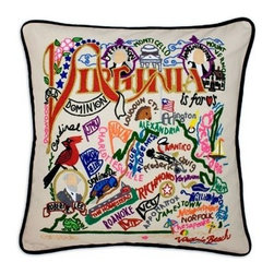 CATSTUDIO - Virginia State Pillow by Catstudio - Celebrate the states! These pillows from Catstudio's Geography Collection are delightful keepsakes for remembering the hometown you grew up in or commemorating your favorite vacation spot. Embroidered entirely by hand (over 35 hours go into each one!) with black velvet piping, these make the perfect gift for all occasions! Removable cotton cover and polyfill pillow form. Cover is dry clean only.