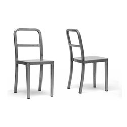 """Wholesale Interiors - Echo Gunmetal Modern Dining Chairs, Set of 2 - An on-trend industrial inspiration makes our Echo Modern Dining Chair very of-the-moment but simple, clean design ensures a lifetime of appeal. This Chinese-made contemporary chair is made of powder-coated steel with a shiny, mottled gunmetal (dark metallic silver) finish with non-marking feet. The dining chair is fully assembled and is not stackable. To clean, wipe with a damp cloth. Product:15""""W x 19""""D x 33.25""""H. Seat dimension: 15""""W x 15.3""""D x 18""""H."""