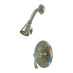 Kingston Brass - Single Handle Shower Faucet - Solid brass water way construction, Premium color finish resists tarnishing and corrosion, Bourbons collection, 2.5 GPM / 9.5 LPM at 80 PSI, 5-1/2in. reach Shower Arm, 1/4 turn washerless cartridge, 1/2in. IPS Inlets, Pressure Balance Valve, Temperature Check Stop, Ten year limited warranty.