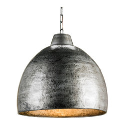 Kathy Kuo Home - Industrial Loft Hammered Metal Modern 1 Light Pendant - This industrial Pendant is constructed of randomly hammered metal with a Blackened Steel finish inside and out. The warm glow is provided by the incandescent light reflecting on the metallic finish.