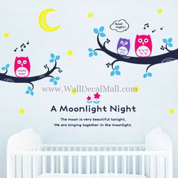 Kids Room Wall Decals - Remy Moon A Moonlight Night Wall Decals--walldecalmall.com