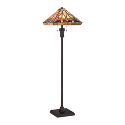Quoizel - Quoizel Vintage Bronze Lamps - SKU: TF1509FVB - Elegant Tiffany style is a timeless staple of home decor. The various designs are hand-assembled using the copper foil technique developed by Louis Comfort Tiffany. With an enormous variety of colors and patterns to choose from, Quoizel Tiffany's have become more popular than ever.