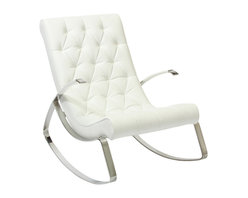Great Deal Furniture - Barcelona-City Modern Design Rocking Lounge Chair - Barcelona-City Modern Design Rocking Lounge Chair has been designed to be a stylish yet relaxing chaise lounge with unique modern design. This elegant chair has a solid stainless steel frame serving as a base for extra comfortable soft leather cushion. The seat cushions and the backrest are all one piece containing high density polyurethane foam. Corrected grain leather was used for upholstering the cushion's frame. This rocker chair can be used in both residential and commercial applications and would look marvelous in any indoor setting including the living area, waiting room, lounge, office, library, den, etc.