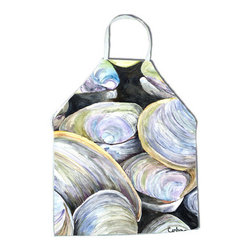 Caroline's Treasures - Clam Quahog Apron - Apron, Bib Style, 27 in H x 31 in W; 100 percent  Ultra Spun Poly, White, braided nylon tie straps, sewn cloth neckband. These bib style aprons are not just for cooking - they are also great for cleaning, gardening, art projects, and other activities, too!