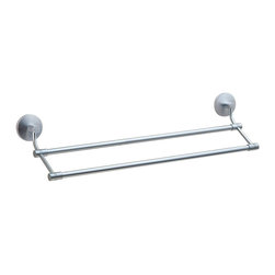 Smedbo - Studio Double Towel Rail in Brushed Chrome Finish - Concealed fastening. 24 in. W x 4.75 in. D