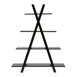 """Holly & Martin - Holly & Martin Milford Etagere-Black - Help organize any room in your home with this sleek """"X"""" shelf. Four shelves are held sturdy by two large """"X"""" frames, each shelf decreasing in size the higher they are on the shelf. This shelving structure is great for any home office, living room or bedroom for books, pictures or flowers. With function and design, this shelf is sure to be a favorite with everyone."""