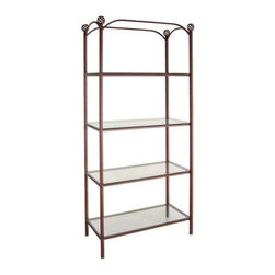 Grace Manufacturing - 38 Inch Display Fixture Rack with 4 Glass Shelves, Burnished Copper - Dimensions: 38 1/2 inches wide : 20 1/2 inches deep : 79 inches tall , Overall including top finals