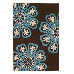 Chandra - Chandra Counterfeit Modern / Contemporary Hand Tufted Floral Rug X-675-10281UOC - Chandra Counterfeit Modern / Contemporary Hand Tufted Floral Rug X-675-10281UOC