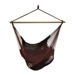 Algoma - Algoma Burgundy Polyester Hanging Rope Chair - Relax in exotic style with the Algoma oversized hanging rope chair. The tightly woven soft polyester rope resists the effects of sun and rain,but is soft and comfortable enough to relax all day in.