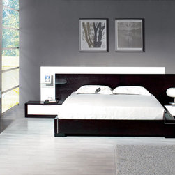 Stylish Wood Elite Modern Bedroom Set feat. Light - Italian design imera bedroom with white details and light system. The new Collection Contemporary Award-winning design bedroom set with side walking way lighting.