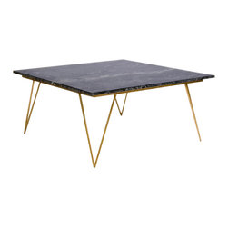 Kathy Kuo Home - Piazza Hollywood Regency Black Marble Gold Coffee Table - An opulent, oversized black marble top makes this grand coffee table unforgettable. Four triangular, hairpin legs are finished in gold with an open architecture, directly contrasting with the vast, solid slab of stone. This one-of-a-kind creation will be the centerpiece of your living room.