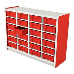 Brite Kids 24 Compartment Storage Unit - Perfect for bringing color and function to any childhood environment, the Brite Kids 24 Compartment Storage Unit is sure to add organization as well. The 24-compartment unit holds up to 24 matching tubs to either store a variety of supplies and books, or to provide each child with their own personal storage. Units are constructed with sturdy laminate shelving, and easy to wipe down to keep surfaces sanitary. Choose from a variety of kid-friendly colors.