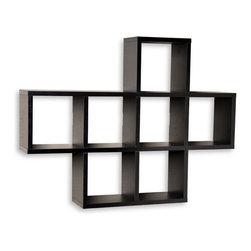 Danya B - Multi Square Cubby Laminated Walnut Wood Veneer Shelving Unit - cubby hole storage, laminated shelf, walnut veneer shelf, wall hung shelf, floating shelf,