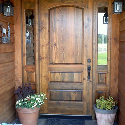 Duce Residence - Entry door with sidelights, cedar bevel siding