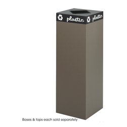 """Safco - Public Square Brown Base, 42-Gallon - Express your environmental stance and make it easy to encourage recycling. The heavy-gauge steel base has a powder coat finish and the hinged tops are specifically designed to accept cans, glass, newspaper or waste. Includes decals designed to segregate waste and recyclables. Securing wires hold plastic container bags (not included) in place. This Brown base has a 42 Gallon capacity, choose a top that best suits the size of the base. Base and tops ordered separately.; Features: Material: Steel; Color: Brown; Finished Product Weight: 36 lbs.; Assembly Required: No; Limited Lifetime Warranty; Dimensions: 15 1/4""""W x 15 1/4""""D x 44""""H"""