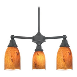 Design Classics Lighting - Mini-Chandelier with Brown Art Glass in Matte Black Finish - 598-07 GL1001D - Transitional matte black 3-light chandelier. Takes (3) 100-watt incandescent A19 bulb(s). Bulb(s) sold separately. UL listed. Dry location rated.